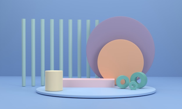3d circle podium scene with a circular pedestal as a background and round pillars
