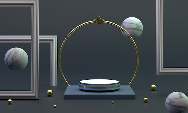 3d a circular podium near a ring with stars photo frame marble ball in the studio provides a luxury