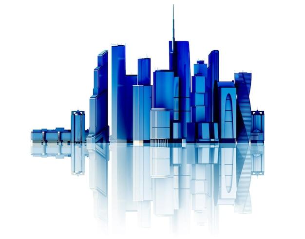 3d город, изолированные на зеркальном полу. 3d оказанная иллюстрация футуристического города.