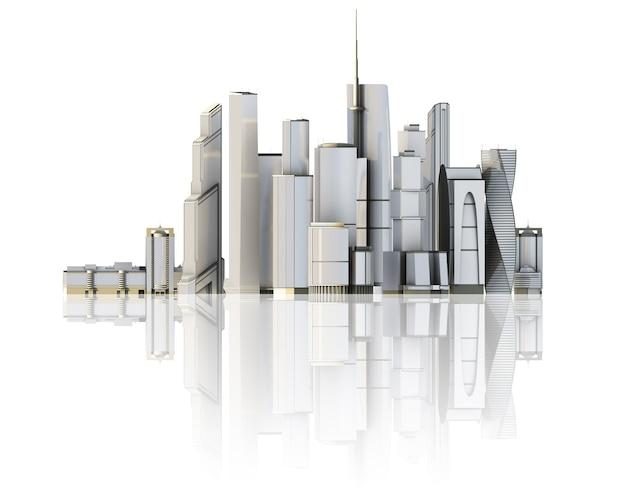 3d-город изолирован на зеркальном полу 3d визуализированная иллюстрация футуристического города