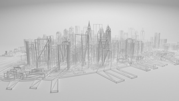 3d city panorama isolated on white background.