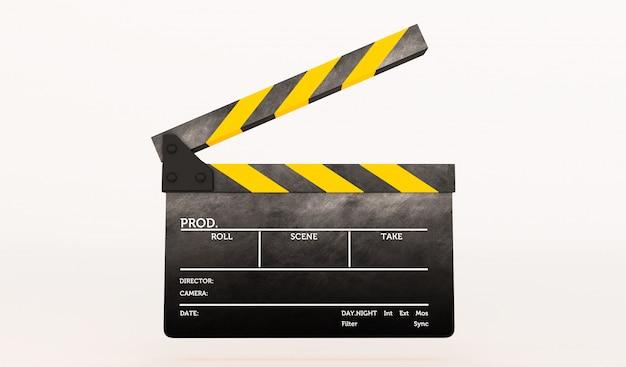 Перевод 3d clapperboard на белой предпосылке.