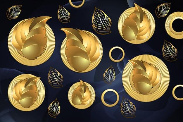 3d классические настенные обои. золотой лист в золотых кругах на темно-синем фоне