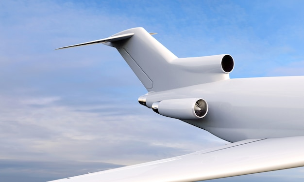 3d close up view of airplane flying over cloudy sky
