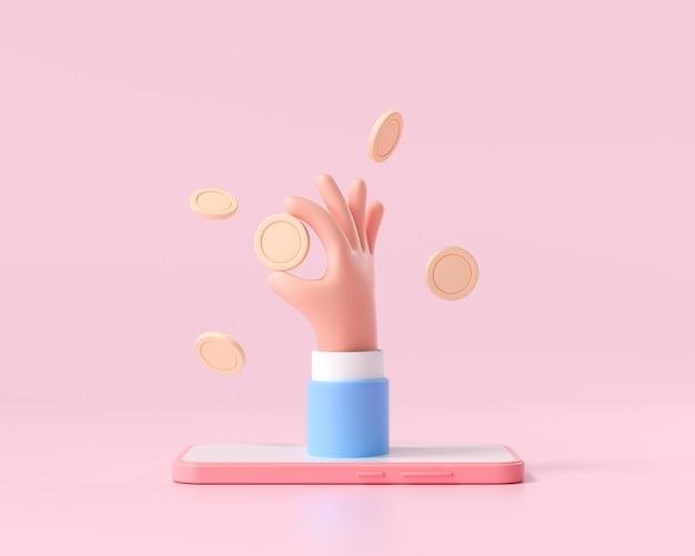 스마트폰, 돈 절약, 온라인 지불 및 돈 투자 개념에 3d 근접 촬영 만화 핸드홀드 동전. 3d 렌더링 그림