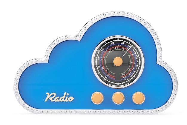 흰색 배경에 빈티지 라디오로 3d 구름
