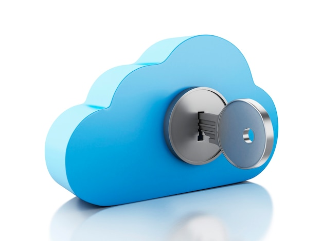 3d cloud locked by key on white background.