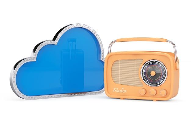 흰색 배경에 빈티지 라디오와 3d 구름