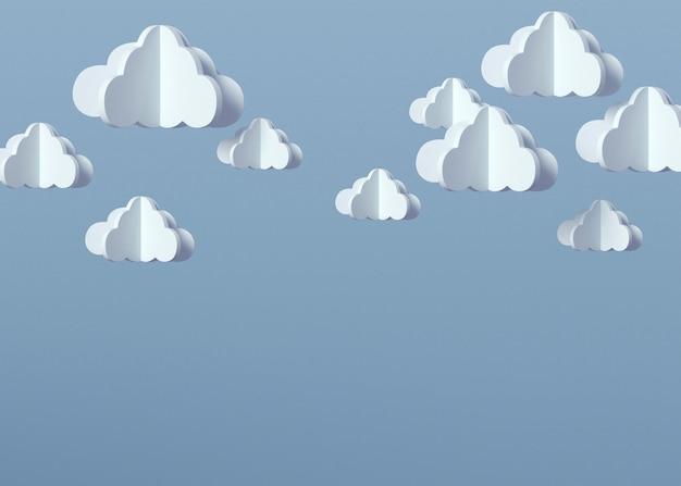 Modello 3d nuvole con sfondo blu