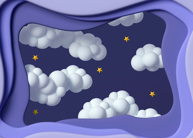 3d clouds and stars arrangement