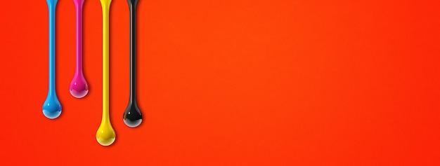 赤い紙の背景に分離された3dcmykインクドロップ。横長のバナー。図