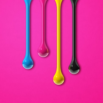 3d cmyk ink drops isolated on pink paper background. square wallpaper. illustration