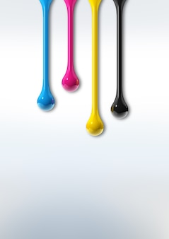 3d cmyk ink drops isolated on white paper background. illustration