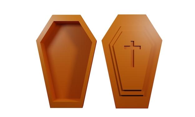 3d coffin illustration design on white background