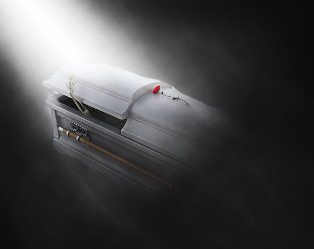 3d coffin with skeleton emerging