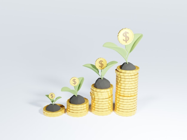 3d coin stacks with growing money tree