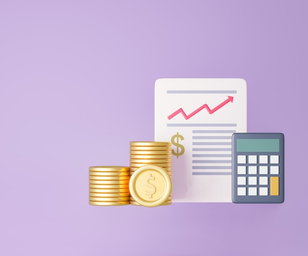 3d coins graph paper and calculator on purple background. 3d illustration rendering.