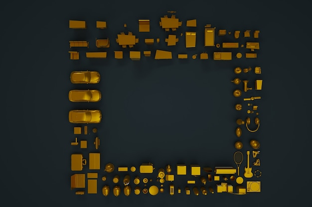 3d collection of appliances, household appliances and furniture. gold figurines. 3d models, figures, furniture. isometric things. top view, dark background