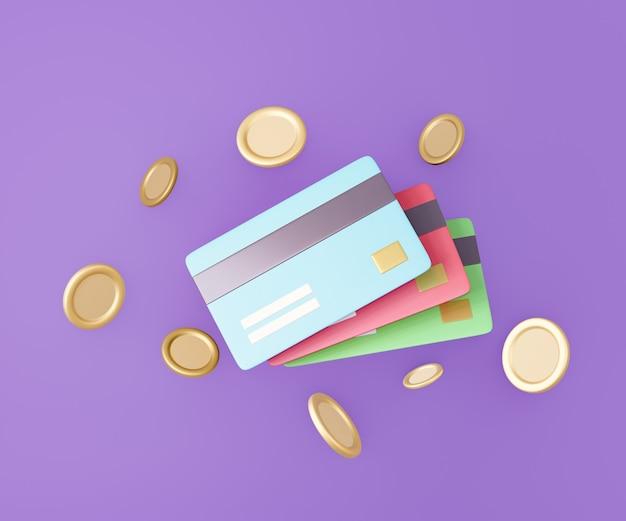 紫色の背景に金貨と3dカラークレジットカード。 3dイラストのレンダリング。