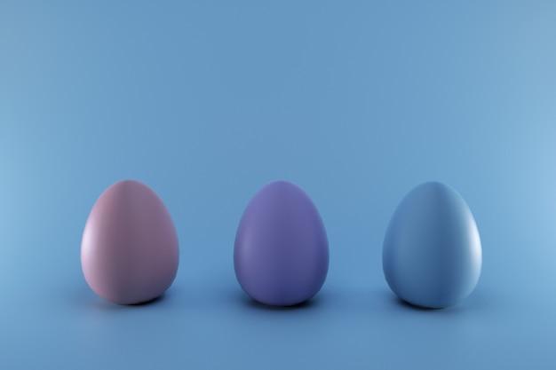 블루 파스텔에 고립 된 3d 다채로운 부활절 달걀