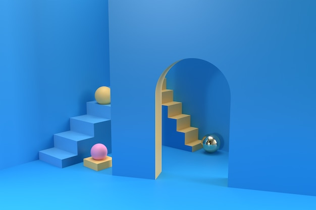 3d complicated business stairs question, 3d render illustration design.