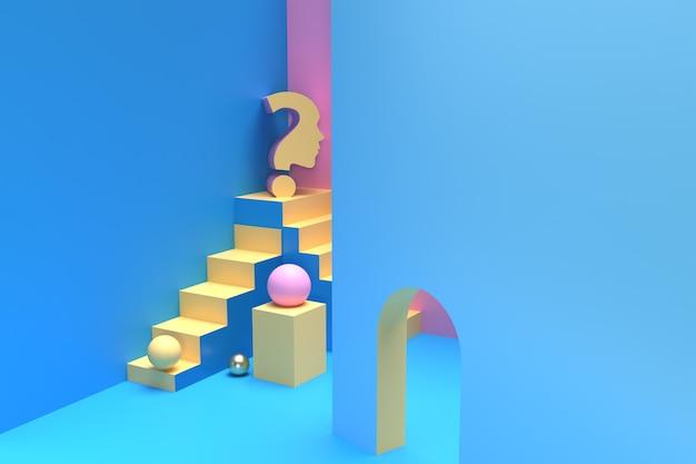 3d複雑なビジネス階段の質問、3dレンダリングのイラストデザイン。