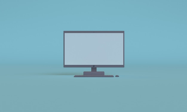 3d 컴퓨터 파란색 미니 멀리 즘 스타일 디자인, 장면 연단 프리젠 테이션을 모의, 3d 렌더링 추상적 인 배경.