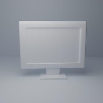 흰색 배경에 3d 컴퓨터 바탕 화면 흰색 모델입니다. 공간 3d 렌더링 복사