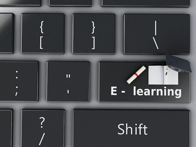 3d computer keyboard. education concept.