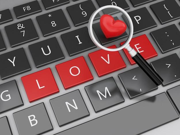 3dコンピュータキーボード、愛のボタンと心。