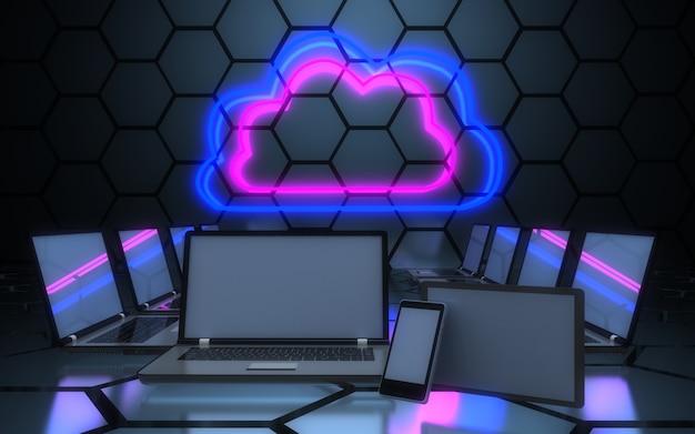 3dコンピュータネットワークの概念。 3dイラスト