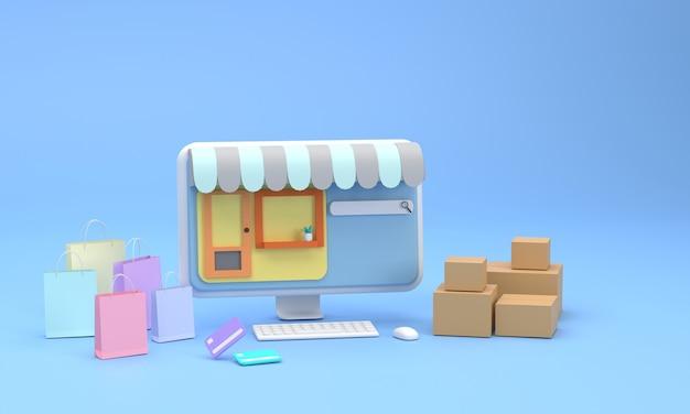 3d 컴퓨터는 신용 카드와 함께 온라인 쇼핑 판지 상자 및 종이 봉지를 검열합니다.