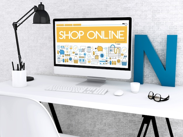 3d computer with words shop online.