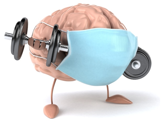 3d-концепция мозга с маской