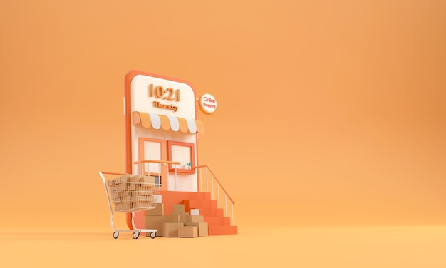 3d concept of online shopping with a mobile phone with a cart in the supermarket and parcel box