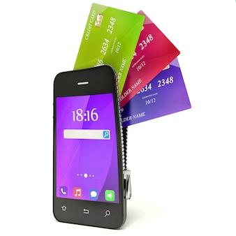 3d концепция с мобильным телефоном и кредитными картами