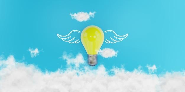 3d概念図。翼のある電球、思想の自由、創造的なアイデアと革新の概念