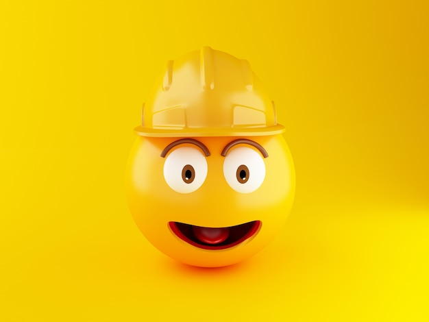3d construction emoji icons with helmet