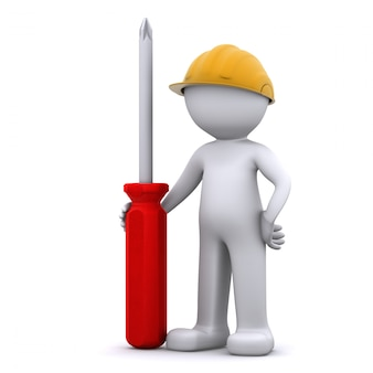 3d construction worker with screwdriver