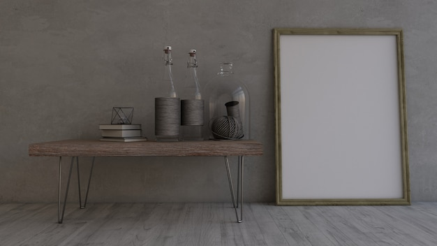 3d contemporary empty room and picture frame