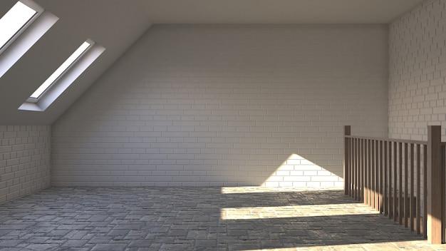 3d contemporary empty room