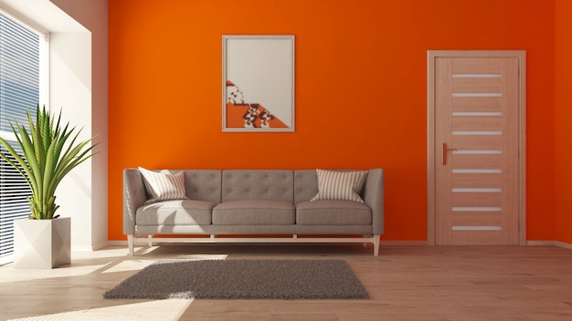 3d 현대 거실 인테리어와 현대적인 가구