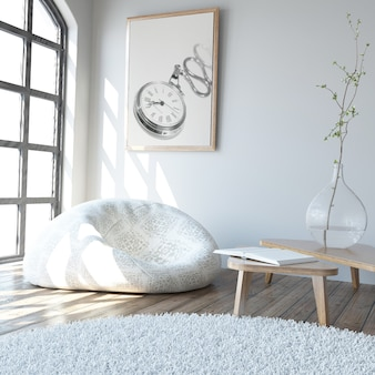 3d современный интерьер гостиной и современная мебель Бесплатные Фотографии