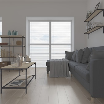 Interni contemporanei del soggiorno 3d e mobili moderni