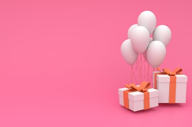 3d представляют иллюстрацию реалистических красочных воздушных шаров и подарочной коробки с смычком на пинке. пустой copyspace для вечеринки, продвижения социальных медиа баннеры, плакаты, день рождения