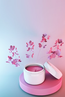 3d cosmetics jar, beauty cosmetic product for face care on pink blue gradient background with spring flowers, face cream package design.