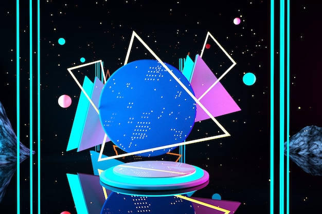 3d 우주 연단 디스플레이 추상적 인 배경에 분홍색 파란색 녹색 네온 빛 받침대 빛나는 장면 어두운 공간 자외선 스펙트럼 레이저 가상 현실 유행 3d 렌더링