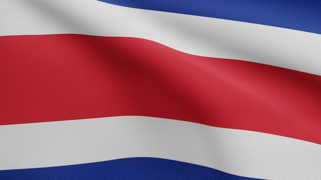 3d, costa rica flag waving in the wind. close up of costa rican banner blowing, soft and smooth silk. cloth fabric texture ensign background.