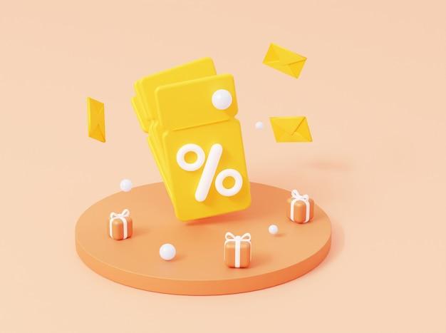 3d купон с процентами и подарками на подиуме. 3d визуализация.