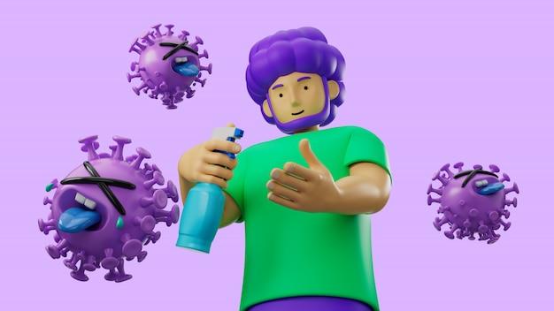 3d иллюстрируют персонажа из мультфильма используя спирт гель очищая руку для защиты вируса гриппа и короны covid-19.
